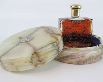 Vintage Holy Land Balm Of Gilead Souvenir Perfume In Marble Box/Dish