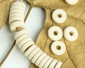 25%OFF 20 Mykonos beads Beige cream round washer 8mm Round Spacers Flat Washers Disk Greek Ceramic beads