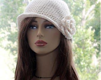 Womens Flapper Hat, crochet brim hat, 1920s style hat, crochet  flower hat, womens bucket hat, womens brim hat  Cream Boho style hat