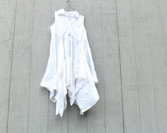 Lagenlook, Patchwork, Upcycled Dress, Wearable Art, Recycled Shirt, Repurposed Clothing, Fun Clothes, Sustainable Clothing, White Tunic