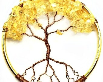 Citrine Gemstone Tree of Life Window or Wall Ornament  Custom Made to Order 3 inches in diameter Can be upgraded to ship Priority Mail