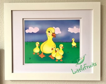 Baby Christmas Gift - Duckling Family - Big Sister and Brother Baby Gift - Ducky Art Print - Baby Shower - Expecting Parents Wall Art