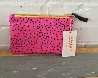 Navy on Pink Linen Polka Dot zipped card holder, Ready To Ship Now
