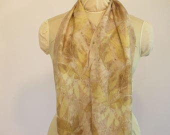 "Eco Fashion Infinity Scarf - Hand-Dyed Silk - Peony Sumac Willow Bark - Nature Lover Eco Gift - HAI121701 - 11""x72"" (27 x 182 cm)"
