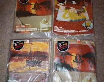 Lot of 4 Vtg Red Heart Latch Hook Rug Patterns NOS Sealed Packages Coats & Clark