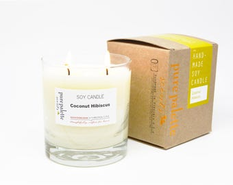 Soy Candle Coconut Hibiscus Tropical Candle Whisky Glass Copper Stamped Kraft Box Free Shipping