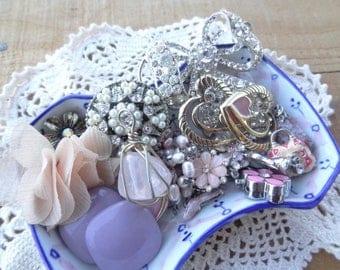 Vintage Jewelry Lot - Shabby Chic  - Lot - Purple Pink Fabric Findings - Rhinestone Destash - Vintage Jewelry Findings - DD6