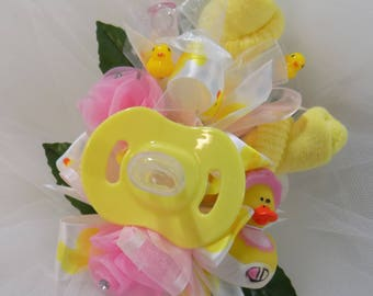 Rubber Duck Baby Shower Corsage - Pin On Baby Girl Shower Corsage - Baby Shower Gift - Mommy Corsage - Pacifier and Baby Socks