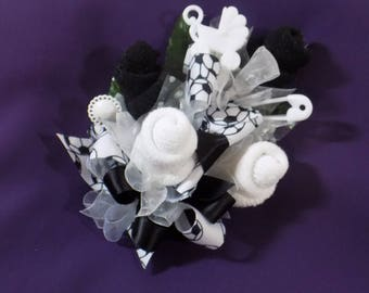 Soccer Themed Baby Shower Corsage - Pin On Corsage Baby Sock Corsage - Black And White Baby Sock Corsage - Baby Shower Items