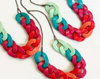 Chain Statement Necklace, Polymer Clay Necklace, Oversized Chain Link Necklace