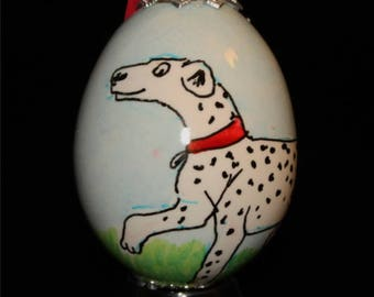 Hand decorated Blown Egg Ornament with Dalmatian