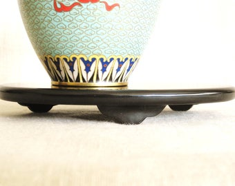 Vintage Asian Presentation Base, Display Stand, Riser, Sculpture Base, Oval Black Wood, Japan, Otagiri, Lacquer, Japanese, Oriental
