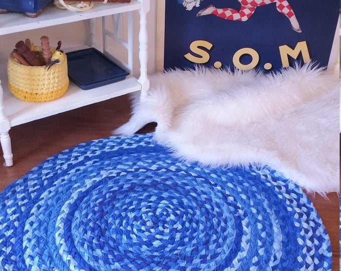 "30"" royal blue braided rug made from cotton shabby chic style"