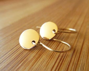 Tiny Disc Earrings, 14k Gold Filled, Tiny Gold Disc Earrings, Dangle Earrings, 14k Gold Fill Disc Earrings