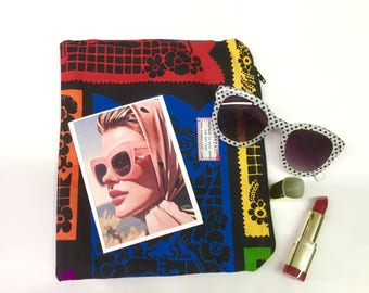 The emergency bag every girl should have LIPSTICK SCARF SUNGLASSES fill your make up bag tomboyART tomboy art