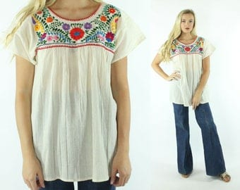 70s Embroidered Tunic Shirt Short Sleeve Beige Gauze Floral Vintage 1970s XL X-Large Mexican Hippie Boho Festival