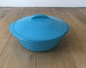 Vintage Turquoise Glasbake Glassbake J514 Casserole Dish 2 QT