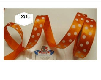Ribbon: Woven Edge English Wired Single-Face Satin Tango (Tangerine Orange) with White Dots 20 ft for wreaths, Halloween, florals, crafts