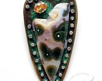 Druzy Edge Fish Eye Ocean Jasper Statement Pendant Necklace, Verdigris Green Copper & Brass w/ Fine Silver Rivets, Riveted Metalwork #P0068