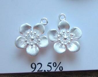 bulk 10 pcs. 10x12mm, Cherry Blossom Flower Pendant, 925 Sterling Silver Lovely Sakura Flower Charm, PC-0023