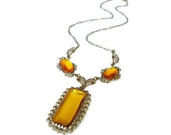 Art Deco Amber Glass Necklace - Topaz Citrine Glass, Gold Tone, Laveliere Necklace, Dangle Drop, Antique Jewelry, Art Deco Jewelry