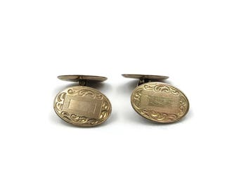 Antique Gold Plated Cufflinks, Embossed, Monogram Plate, Engrave, Victorian Jewelry, E.A. Potter and  Company, Mens Cufflinks, Gifts for Him