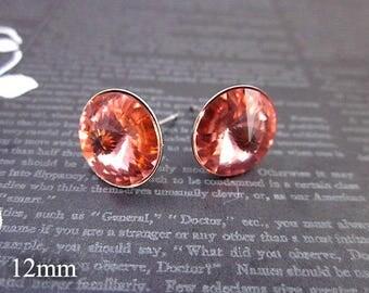 Coral Swarovski Earrings -- Coral Stud Earrings -- Coral Studs -- Swarovski Studs -- Coral Pink Earrings -- Padparadscha Crystal Earrings