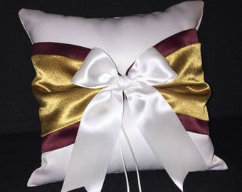 Wine and Gold Accent White or Ivory  Wedding Ring Bearer Pillow