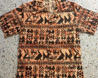 1960's Hawaiian Shirt / Tiki Wear / Novelty Printed Hawaii Shirt / Button Up shirt / Barkcloth Poly Cotton Shirt