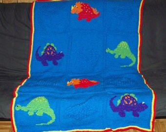Dinosaur Crochet Afghan Boys Blanket Kids Afghan Dinosaur  Cross Stitch Afghan
