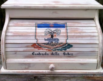 Bread box white distressed with animal crest hand painted to look worn