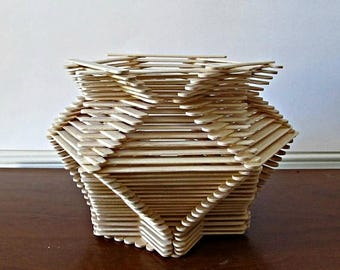 ON SALE Hexagon Shaped Popsicle Stick Vase - Natural Wood, Home Decor