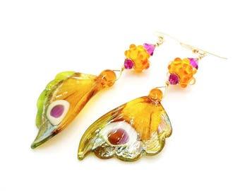 Butterfly Wing Earrings, Butterfly Earrings, Butterfly Jewelry, Lampwork Earirngs, Gold Dangle Earrings, Wing Earrings, Nature Jewelry
