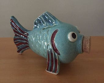 Aqua Navy and Red Fish Coin Bank with Cork Stopper - handmade pottery - in Stock