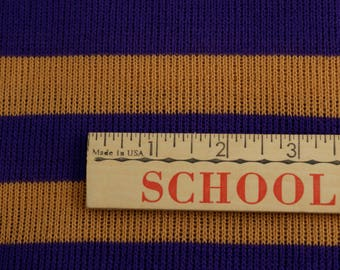 Purple and gold striped sweater fabric