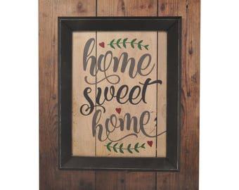 Home Sweet Home Framed TimberPrintz Pallet Sign 16x20