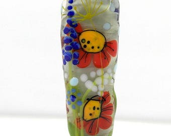 Floral bead , lampwork glass bead , flower bead , green bead , meadow, artisan focal bead , green lampwork bead
