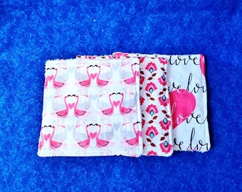 Baby Girl Wash Cloths  Set of 3,  Flamingos Hearts with Terry Cloth