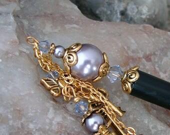 Hair Stick Purple Pearl and Crystal Geisha Dangle Hair Sticks Kanzashi Hair Pins Lavender and Mauve Hairsticks Hair Chopsticks - Irisa 3080