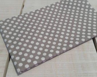 Grey polka dot cotton fabric