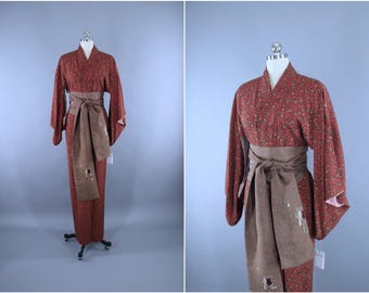 1940s Vintage Silk Kimono Robe / Wedding Dressing Gown Lingerie / Downton Abbey Art Deco / Rust Brown Abstract Floral