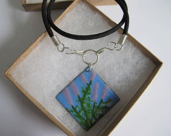 Lavender Dreams- Vitreous Enamel pendant with Black Braided Nylon cord, Sterling Silver end caps and hooks