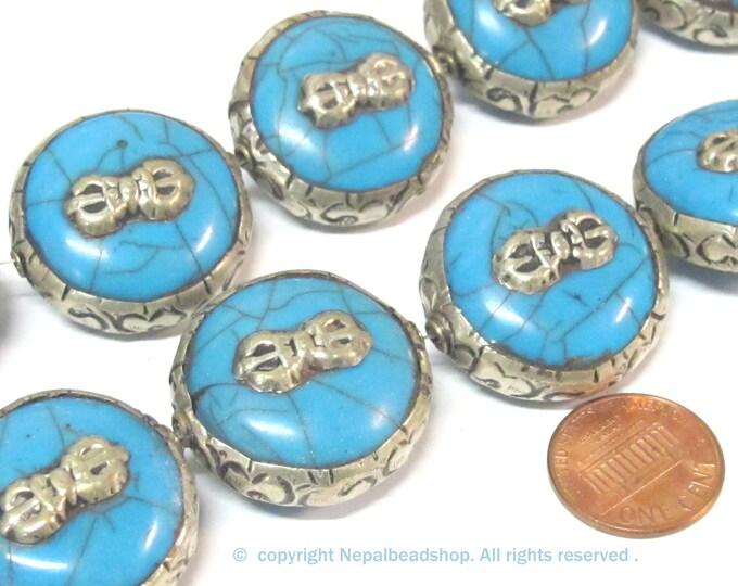 1 Bead - Reversible Large size Tibetan silver encased blue color crackle resin dorje vajra symbol  bead  - BD524D