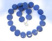Kazuri Beaded Necklace, Fair Trade, French Blue Ceramic Necklace