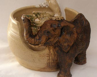 Elephant Yarn Bowl Sculpture, Hand Sculpted Stoneware Young  Elephant Knitting Bowl
