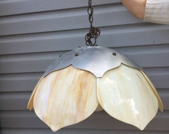Pretty Salvaged Hanging Glass Light Fixture