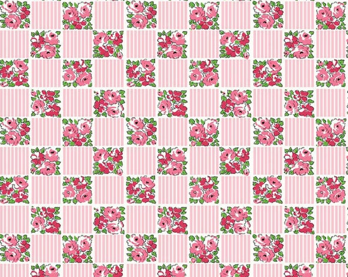 Dainty Darling Fabric by Lindsay Wilkes from The Cottage Mama for Riley Blake Designs and Penny Rose Fabrics - Pink Check