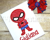 SALE - Spider Super Hero Inspired Sparkly Glitter Birthday Girl Embroidered Shirt or Bodysuit - FREE Personalization