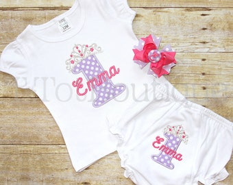 FULL OUTFIT 1st Birthday Party Cake Smash Embroidered Shirt Bodysuit Diaper Cover Bloomers Hair Bow Number One - FREE Personalization