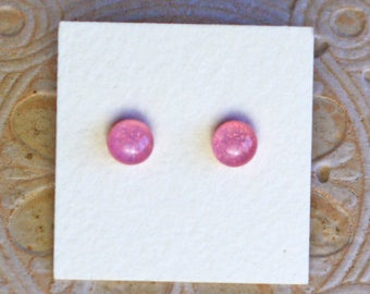Dichroic Glass Earrings, Petite Pink  DGE-1232